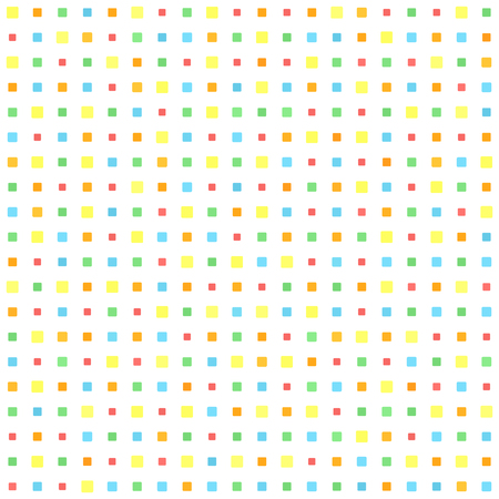 Rounded square pattern. Seamless vector background - red, orange, yellow, green, blue squares on white backdrop Illustration
