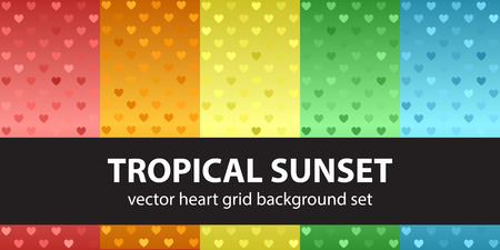 Heart pattern set Tropical Sunset. Vector seamless backgrounds - red, orange, yellow, green, blue hearts on glowing backdrops