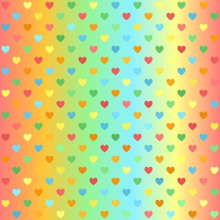 Glowing heart pattern. Seamless vector background - red, orange, yellow, green, blue hearts on glossy backdrop