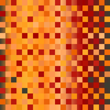 Glowing checkerboard pattern. Seamless vector checkered background - red, peach, black, orange, pumpkin squares on gradient backdrop