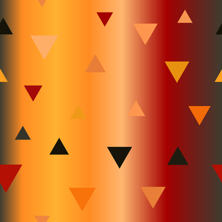 Gradient triangle pattern. Seamless vector background - red, peach, black, orange, pumpkin triangles on glossy backdrop Illustration