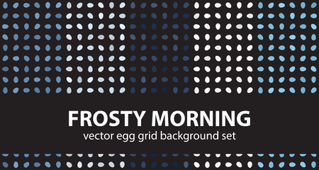 Egg pattern set Frosty Morning. Vector seamless backgrounds - blue, gray and white eggs on black backdrops Illustration