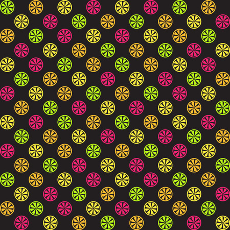 Citrus pattern. Seamless vector background - lemon, orange, lime, grapefruit slices on black backdrop