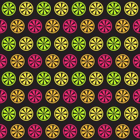 Citrus pattern. Seamless vector background - lemon, orange, lime, grapefruit slices on black backdrop 向量圖像