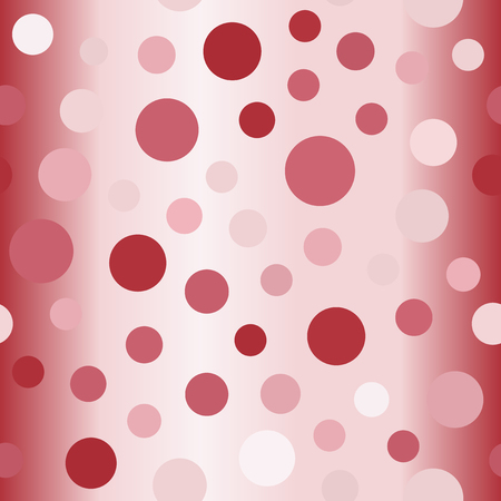Gradient polka dot pattern. Seamless vector background - red, rose and pink circles on glossy backdrop