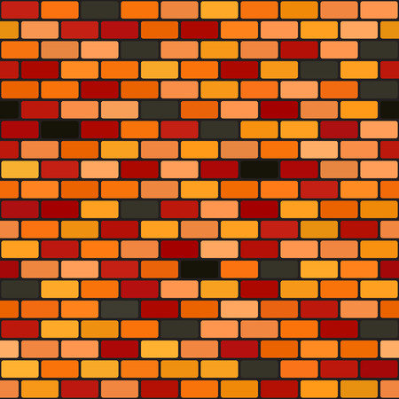 Brick wall pattern. Seamless vector background - red, peach, black, orange, pumpkin rounded bricks on black backdrop Illustration