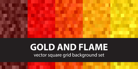 Square pattern set Gold and Flame. Vector seamless geometric backgrounds with maroon, red, orange, gold, yellow squares Illustration