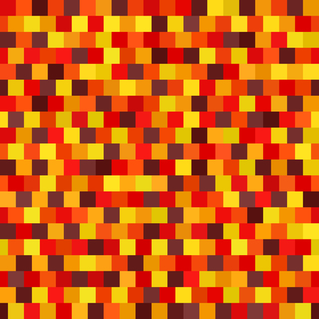 Square pattern. Seamless vector background with maroon, red, orange, gold, yellow squares