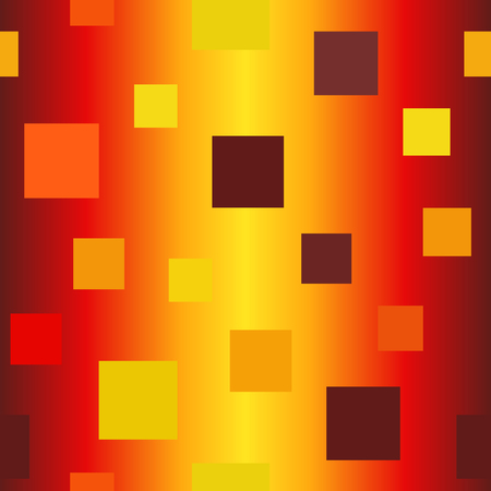 Glossy square pattern. Seamless vector background - maroon, red, orange, gold, yellow squares on gradient backdrop
