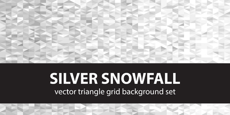 Triangle pattern set Silver Snowfall. Vector seamless geometric backgrounds with gray, silver and white right triangles
