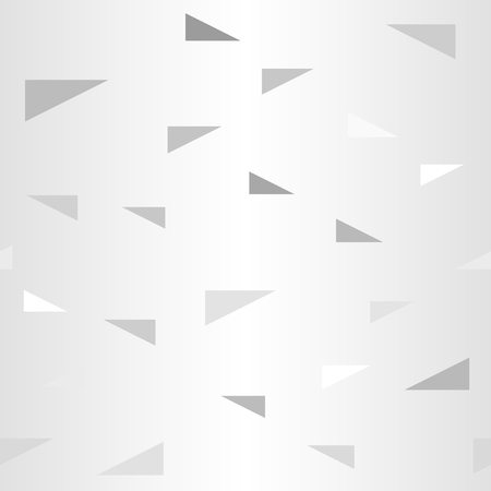 Gradient triangle pattern. Seamless vector background - gray, silver and white right triangles on glowing backdrop