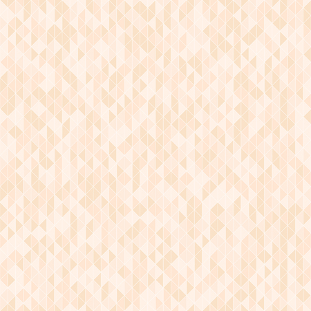 Peach triangle background. Seamless vector pattern - orange triangles on light beige backdrop