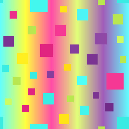 Glossy square pattern. Seamless vector background - cyan, yellow, rose, green, violet squares on glowing backdrop Illustration