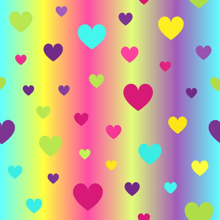 Glossy heart pattern. Seamless vector background - cyan, yellow, rose, green, violet hearts on gradient backdrop Illustration