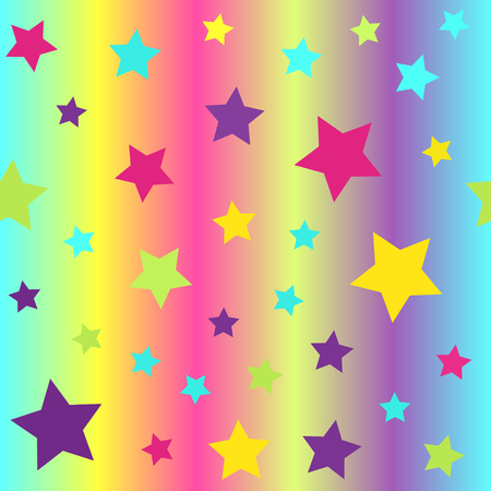 Bright glossy star pattern. Seamless vector background - cyan, yellow, rose, green, violet stars on glowing backdrop Illustration