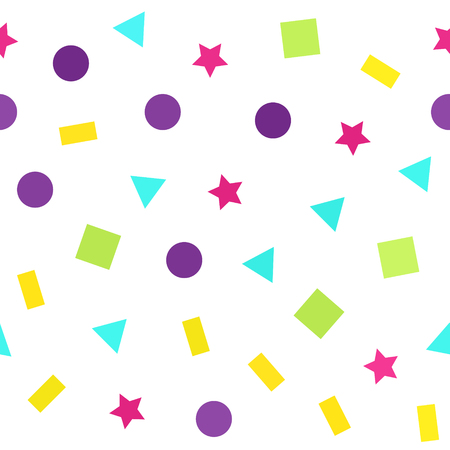 Bright geometric pattern. Seamless vector background - multicolor triangles, circles, rectangles, squares, stars on white backdrop