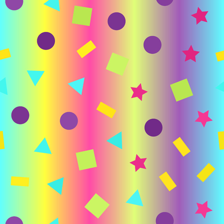 Glowing geometric pattern. Seamless vector background - multicolor triangles, circles, rectangles, squares, stars on gradient backdrop Illustration