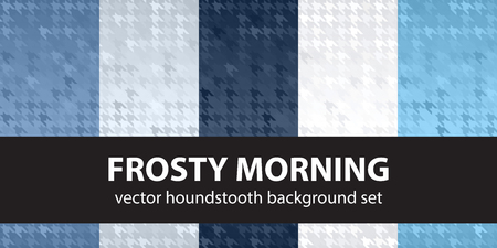 Houndstooth pattern set Frosty Morning. Vector seamless backgrounds - blue, gray and white shapes on gradient backdrops Illustration