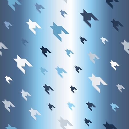 Glossy houndstooth pattern. Seamless vector background - blue, gray and white shapes on gradient backdrop Illustration