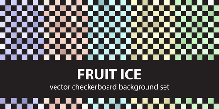 Checkerboard pattern set Fruit Ice. Vector seamless backgrounds - violet, rose, cyan, yellow, green squares on black backdrops