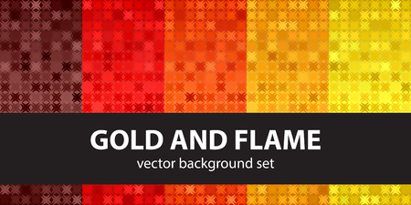 Abstract pattern set Gold and Flame. Vector seamless backgrounds - maroon, red, orange, gold, yellow shapes on gradient backdrops