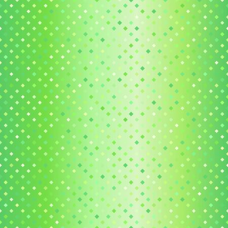 Gradient diamond pattern. Seamless vector background - green quadratic diamonds of different size on glowing backdrop