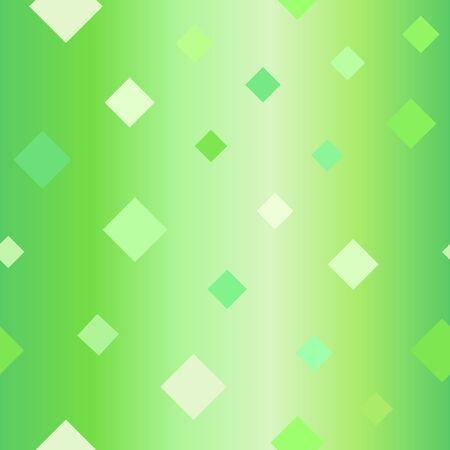 Glossy diamond pattern. Seamless vector background - green diamonds on gradient backdrop