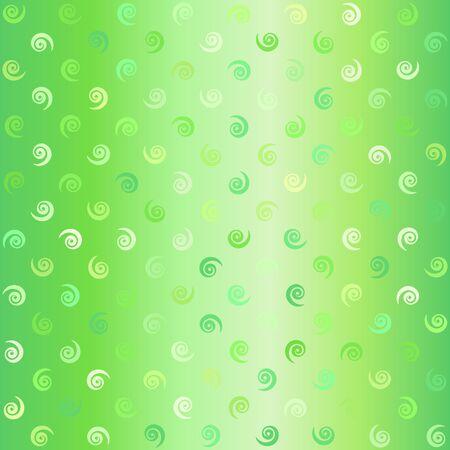 Glowing vortex pattern. Seamless vector background - green spirals on gradient backdrop  イラスト・ベクター素材