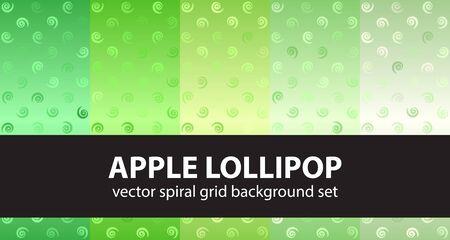 Spiral pattern set Apple Lollipop. Vector seamless backgrounds - green vortexes on gradient backdrops