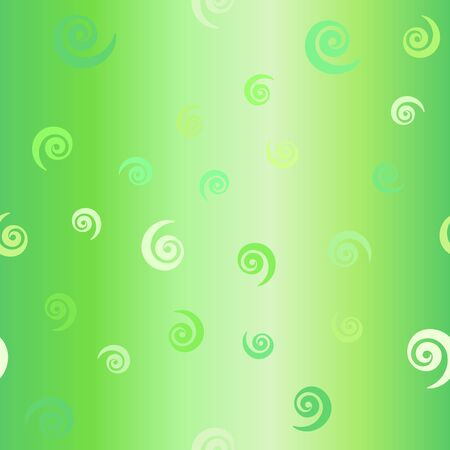 Glossy spiral pattern. Seamless vector background - green vortexes on gradient backdrop