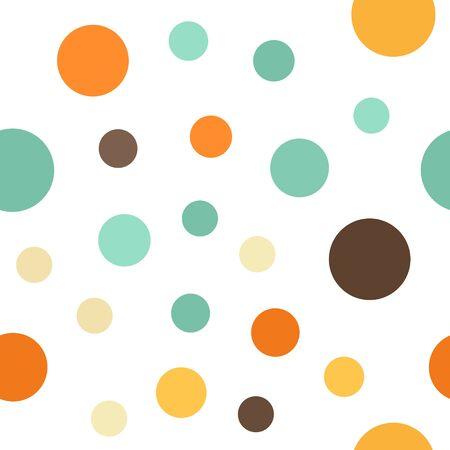 Circle pattern. Seamless vector background - beige, brown, orange, yellow, green circles on white backdrop