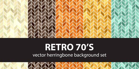 Herringbone pattern set Retro 70s. Vector seamless parquet backgrounds - beige, brown, orange, yellow, green shapes on white backdrops