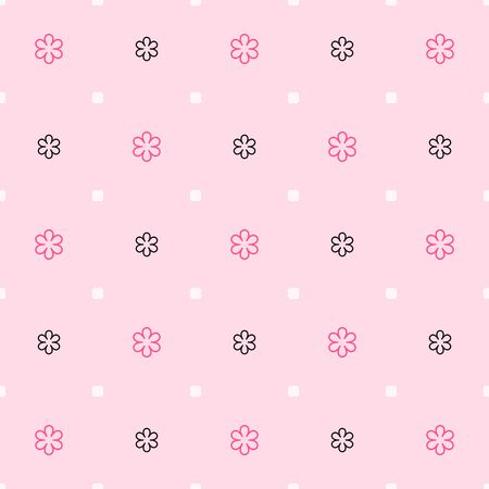 Pink flower pattern. Seamless vector background - rose and black flowers and white spots on light pink backdrop