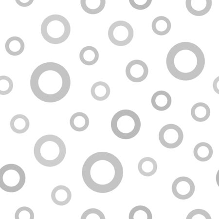 Grey ring pattern. Seamless vector background - gray circlets on white backdrop
