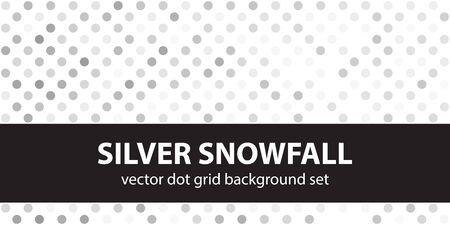 Polka dot pattern set Silver Snowfall. Vector seamless geometric dot backgrounds - gray, silver and white circles on white backdrops