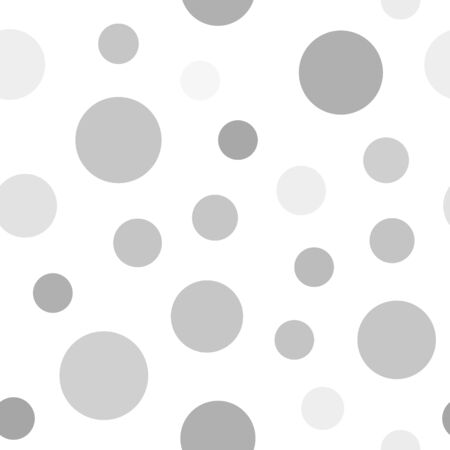 Gray circle background. Seamless vector pattern - gray, silver and white circles on white backdrop Illustration