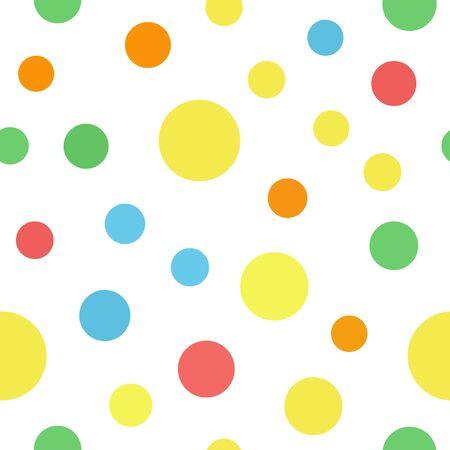 Polka dot pattern. Seamless vector background - red, orange, yellow, green, blue circles on white backdrop