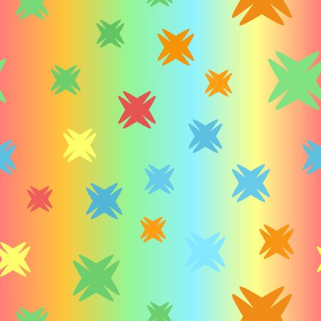 Glossy abstract pattern. Seamless vector background - red, orange, yellow, green, blue shapes on glowing backdrop