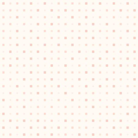 Rose square pattern. Seamless vector background - red rounded squares of different size on light pink backdrop