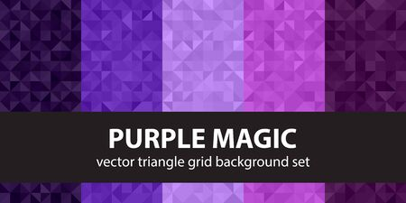 Triangle pattern set Purple Magic. Vector seamless geometric backgrounds made of amethyst, lavender, plum, purple, violet right triangles