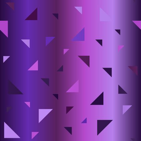 Gradient triangle pattern. Seamless vector background - amethyst, lavender, plum, purple, violet right triangles on glowing backdrop