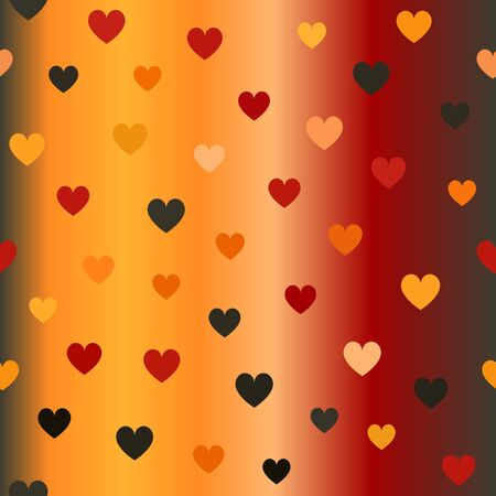 Glowing heart pattern. Seamless vector background - hearts on gradient backdrop