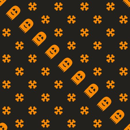 Halloween pattern. Seamless vector background with orange bones and ghosts on black backdrop