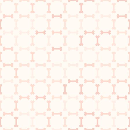 Chequered rose bone pattern. Seamless vector background - red bones on light pink backdrop