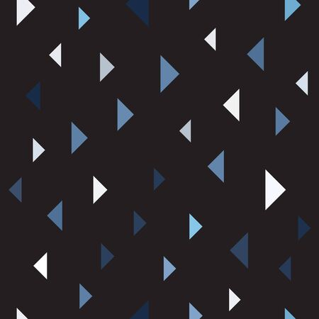 Triangle pattern. Seamless vector background - blue, gray and white triangles on black backdrop