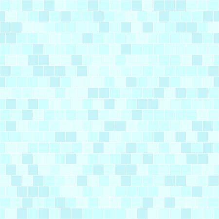 Cyan square pattern. Seamless vector background - blue quadratic bricks on light cyan backdrop