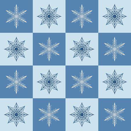 Schneeflocke-Muster. Nahtloser Vektor karierter Winterhintergrund mit weißen und blauen Schneeflocken auf blauen und hellblauen Quadraten Vektorgrafik