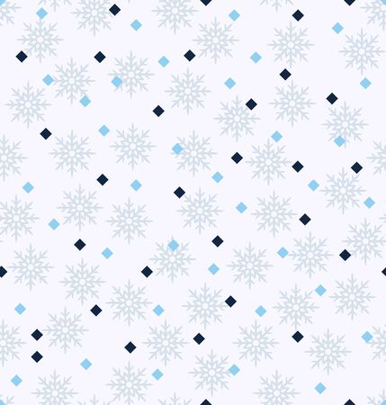 Winter pattern with diamonds and snowflakes. Seamless vector background: blue square diamonds and gray snowflakes on light blue backdrop