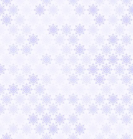 Snowflake pattern. Seamless vector winter background with violet snowflakes on light lavender backdrop Ilustracja