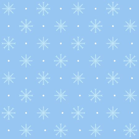 Dotted snowflake pattern. Seamless vector winter background: light blue snowflakes and white spots on blue backdrop Stock Illustratie